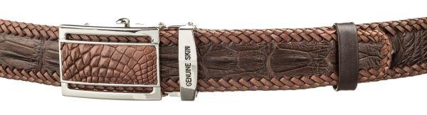 Ремень автоматический CROCODILE LEATHER 18600 из натуральной кожи крокодила коричневый