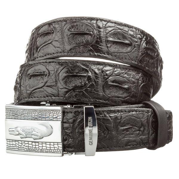 Ремень автоматический CROCODILE LEATHER 18605 из натуральной кожи крокодила черный