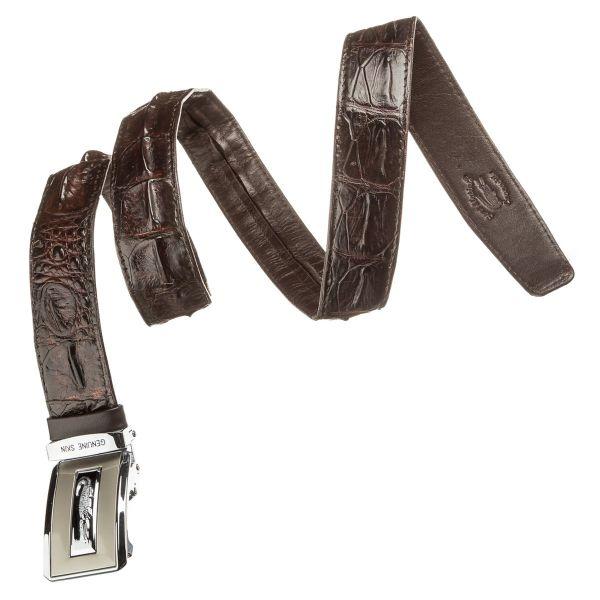 Ремень автоматический CROCODILE LEATHER 18606 из натуральной кожи крокодила коричневый