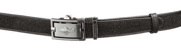 Ремень тонкий автомат STINGRAY LEATHER 18649 из натуральной кожи морского ската черный