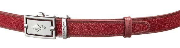 Ремень тонкий автомат STINGRAY LEATHER 18650 из натуральной кожи морского ската бордовый