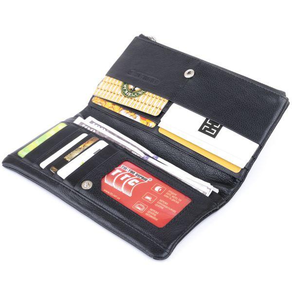 Вертикальный кошелек на кнопке женский ST Leather 19200 черный