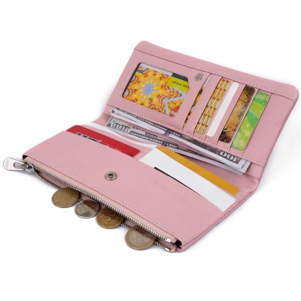 Вертикальный кошелек на кнопке женский ST Leather 19201 Розовый