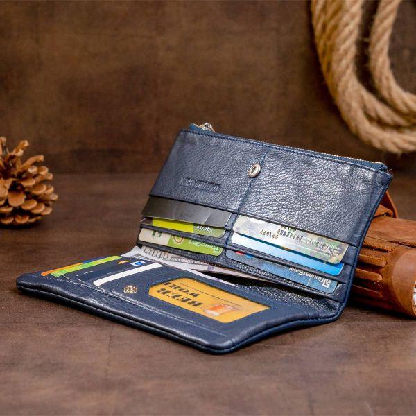 Вертикальный кошелек на кнопке женский ST Leather 19203 темно-синий