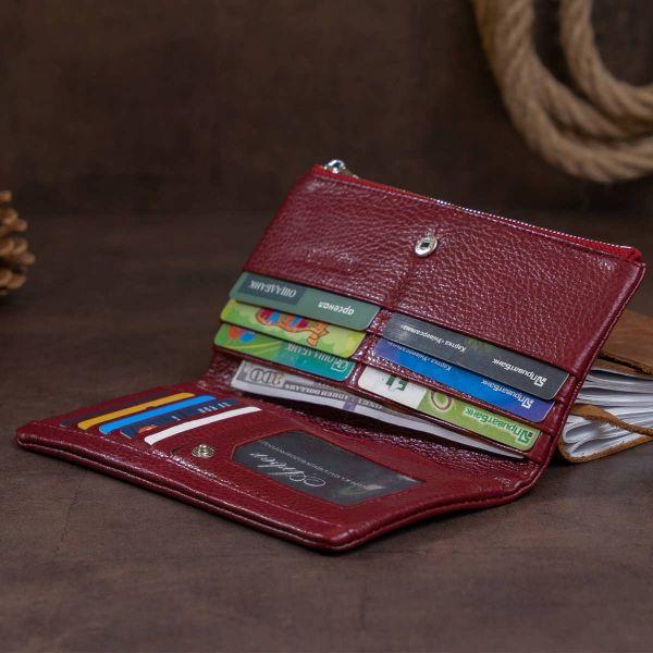 Вертикальний гаманець на кнопці жіночий ST Leather 19204 бордовий