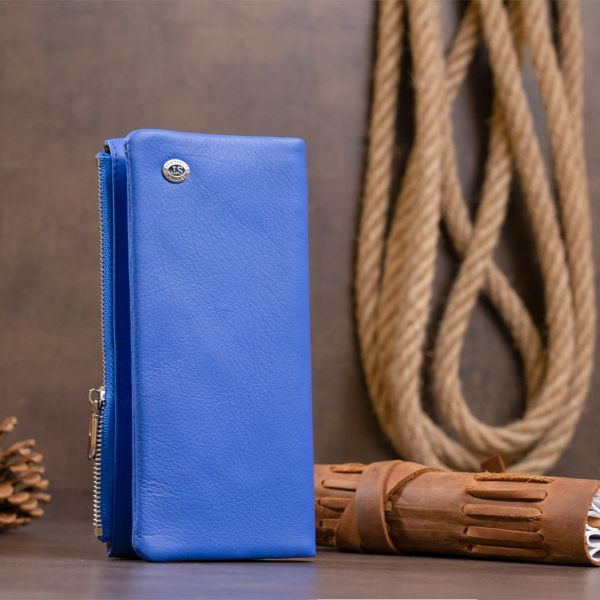Вертикальний гаманець на кнопці унісекс ST Leather 19205 синій