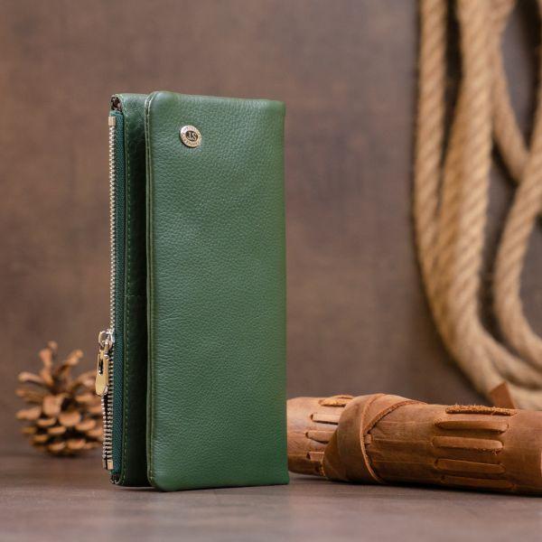 Вертикальний гаманець на кнопці унісекс ST Leather 19207 зелений