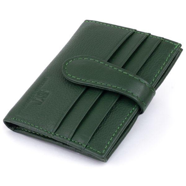 Гаманець-візитниця на хлястике с кнопкой женский ST Leather 19229 зеленый