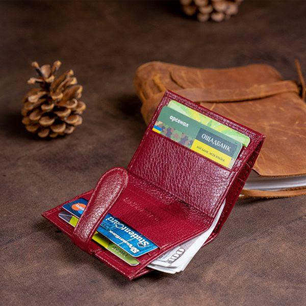 Гаманець-візитниця на хлястику з кнопкою жіночий ST Leather 19231 бордовий