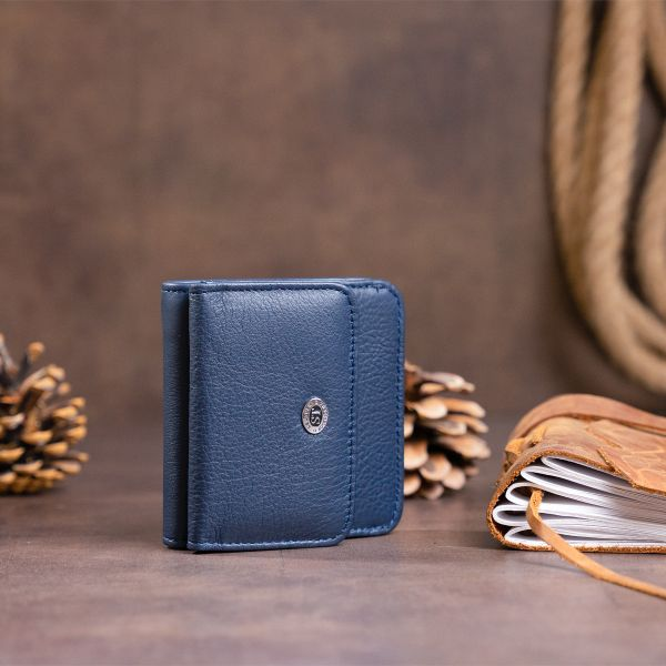 Маленький кошелек на кнопке женский ST Leather 19237 Темно-синий
