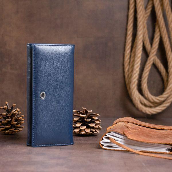 Кошелек на магнитах с клапаном женский ST Leather 19241 Темно-синий