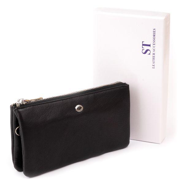 Вместительный клатч на два отделения женский ST Leather 19246 черный