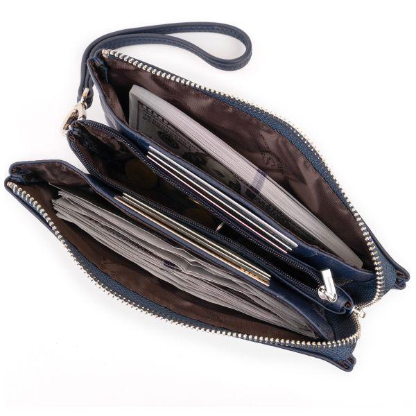 Вместительный клатч на два отделения женский ST Leather 19248 Синий