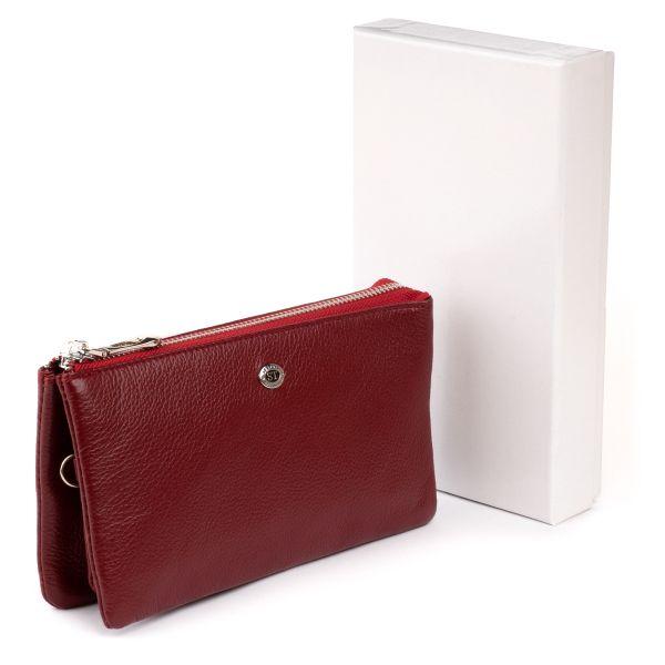Вместительный клатч на два отделения женский ST Leather 19249 бордовый