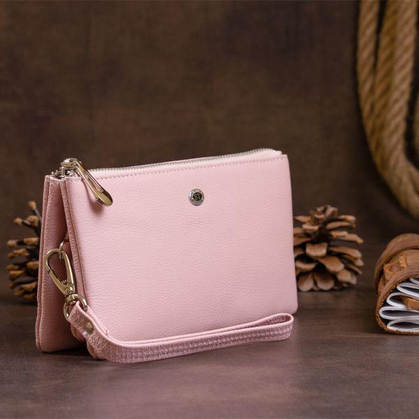 Вместительный клатч на два отделения женский ST Leather 19250 Розовый