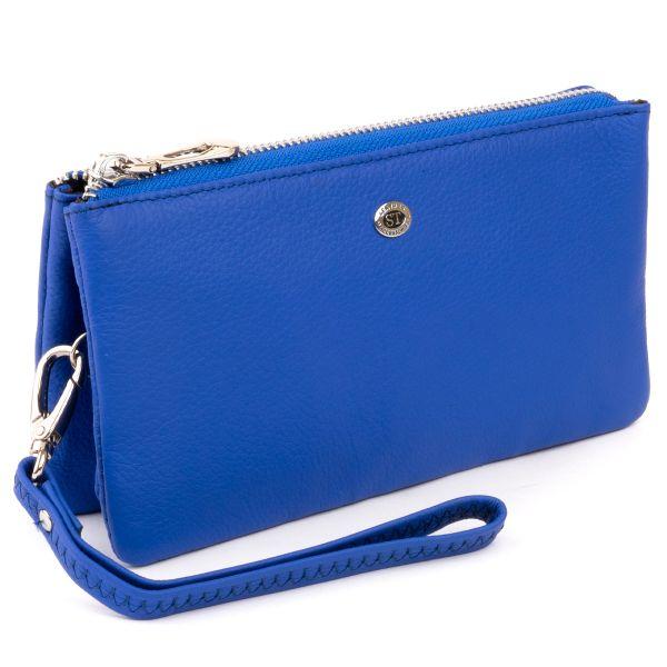 Вместительный клатч из двух частей женский ST Leather 19252 синий