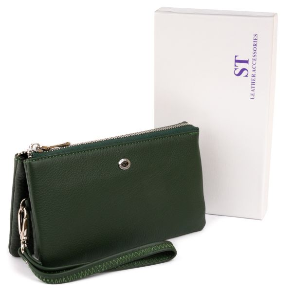 Вместительный клатч из двух частей женский ST Leather 19253 Зеленый