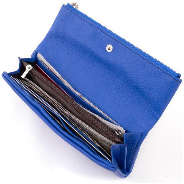 Клатч конверт с карманом для мобильного кожаный женский ST Leather 19268 синий