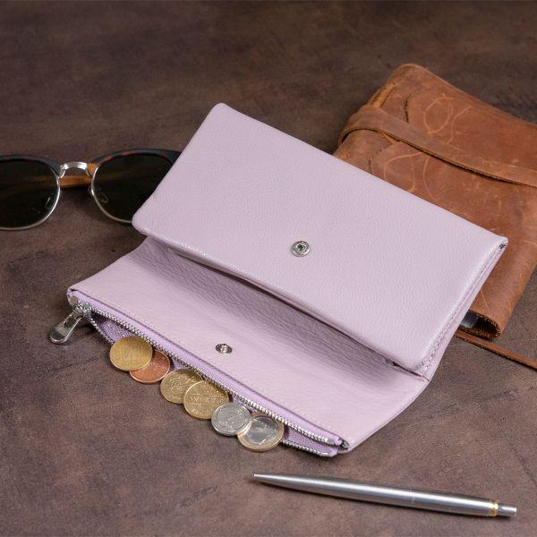 Клатч конверт с карманом для мобильного кожаный женский ST Leather 19269 лиловый