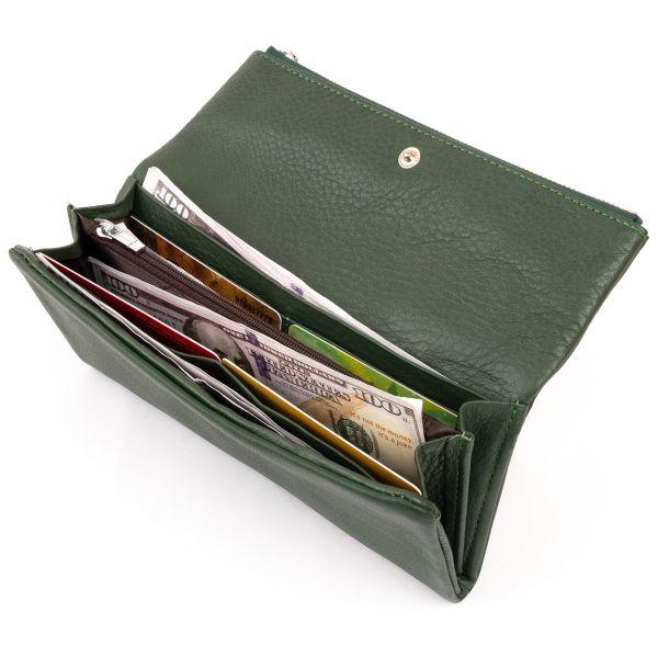 Клатч конверт с карманом для мобильного кожаный женский ST Leather 19270 зеленый