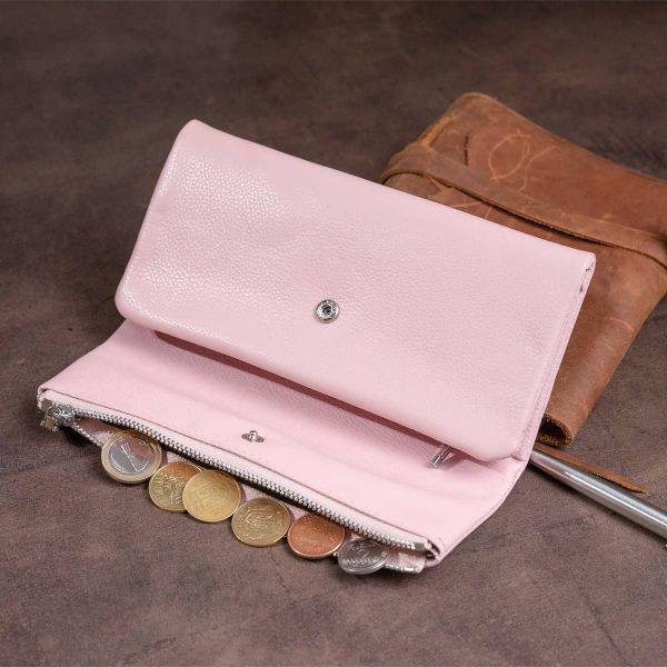 Клатч конверт с карманом для мобильного кожаный женский ST Leather 19271 Розовый