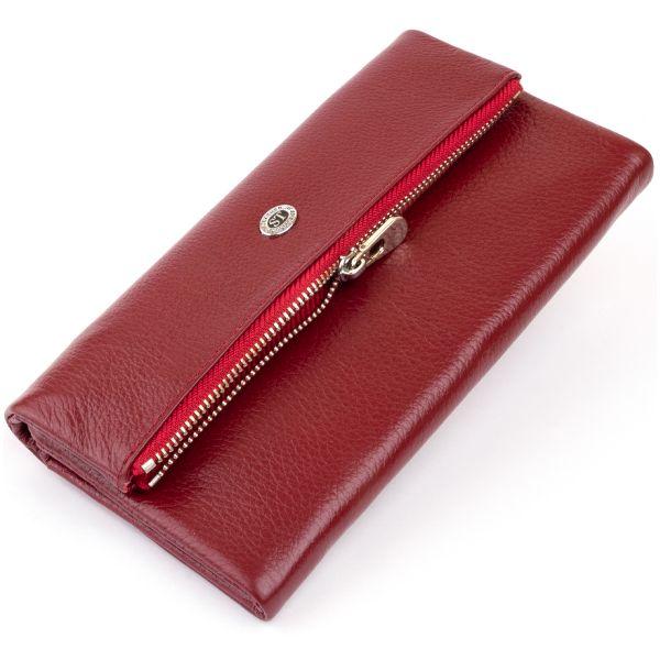 Клатч конверт з кишенею для мобільного шкіряний жіночий ST Leather 19273 бордовий