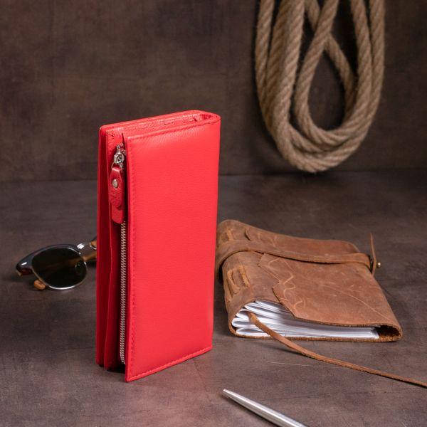 Вертикальний гаманець шкіряний жіночий ST Leather 19275 червоний