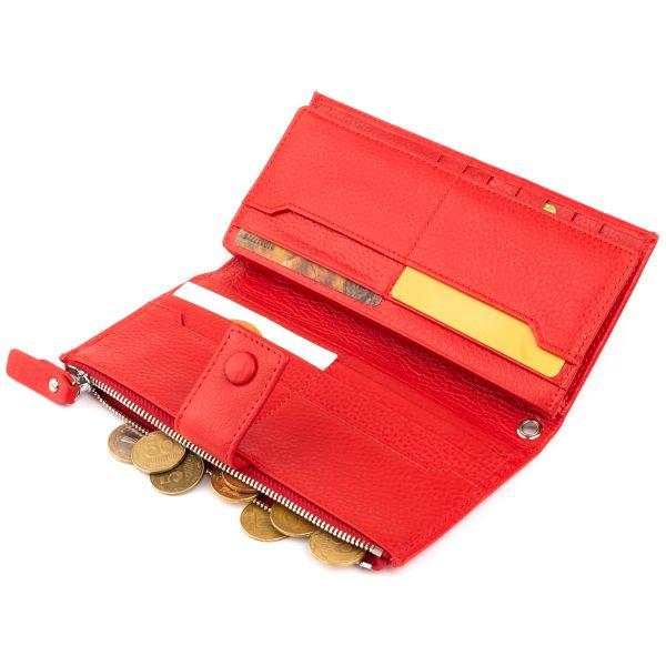 Оригинальный кошелек кожаный женский на хлястике с кнопкой ST Leather 19281 Красный