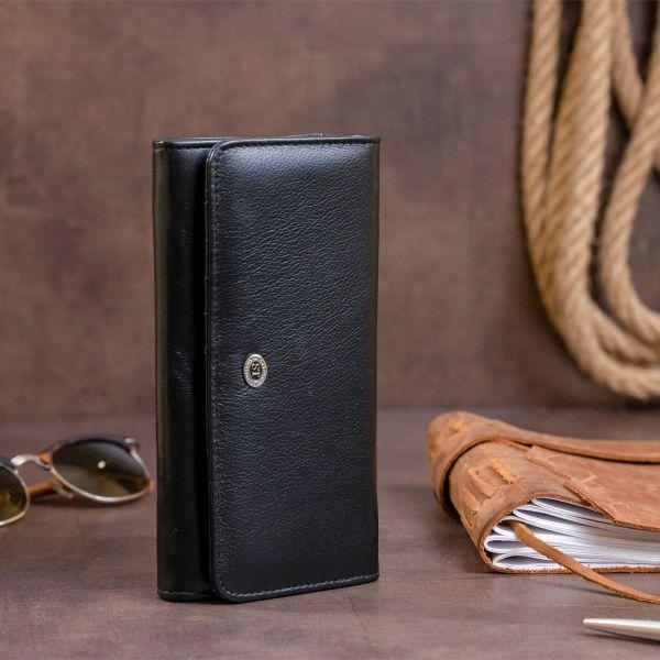 Гаманець шкіряний в два складання жіночий ST Leather 19284 чорний