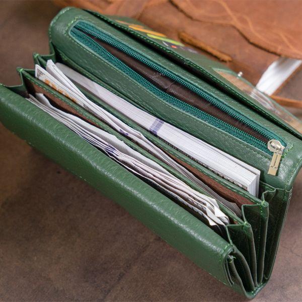 Кошелек кожаный в два складывания женский ST Leather 19286 зеленый
