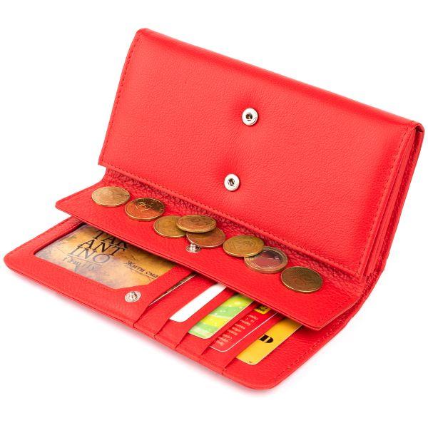Гаманець шкіряний в два складання жіночий ST Leather 19287 червоний