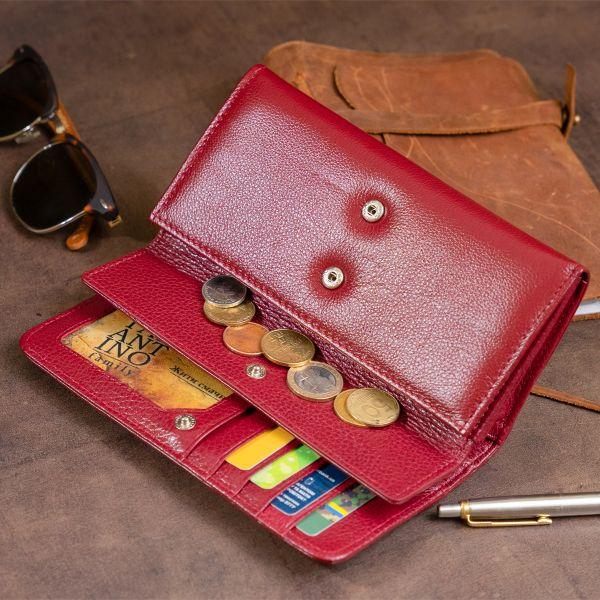 Кошелек кожаный в два сложения женский ST Leather 19288 Бордовый