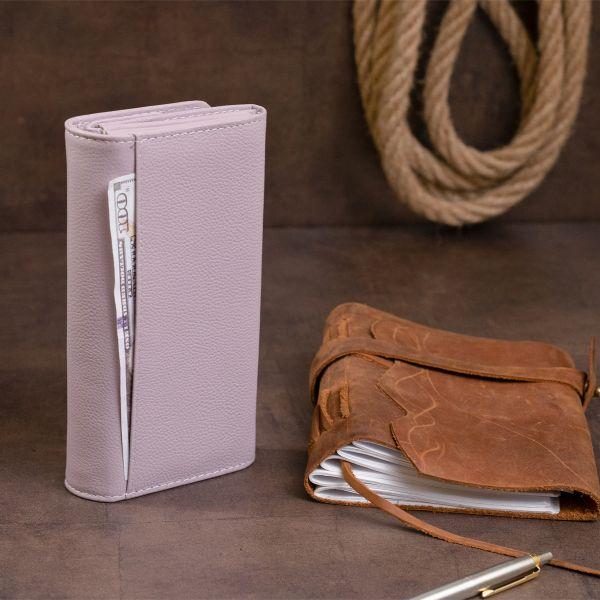 Гаманець шкіряний в два складання жіночий ST Leather 19289 ліловий