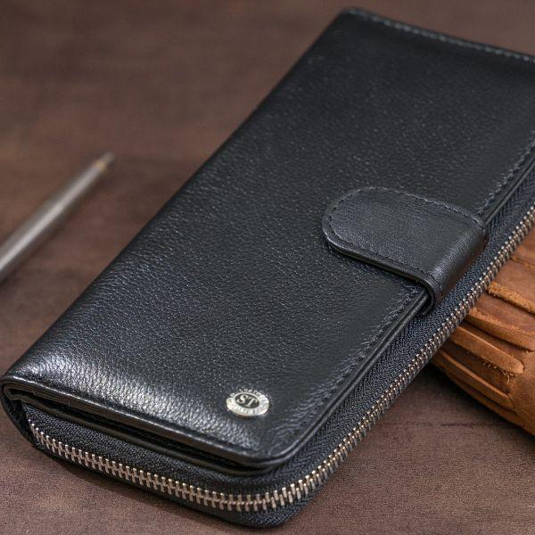 Вертикальный вместительный кошелек из кожи унисекс ST Leather 19300 черный