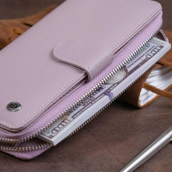Вертикальный вместительный кошелек из кожи женский ST Leather 19302 лиловый