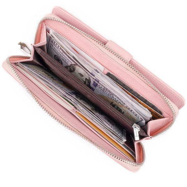 Вертикальный вместительный кошелек из кожи женский ST Leather 19303 розовый
