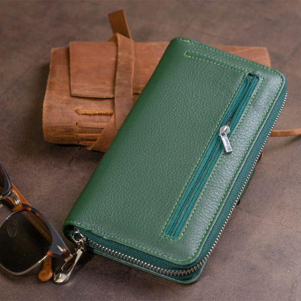 Вертикальный вместительный кошелек из кожи унисекс ST Leather 19304 Зеленый