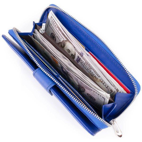 Вертикальный вместительный кошелек из кожи унисекс ST Leather 19305 синий