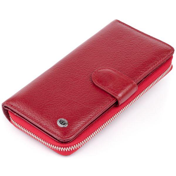 Вертикальный вместительный кошелек из кожи женский ST Leather 19307 Бордовый