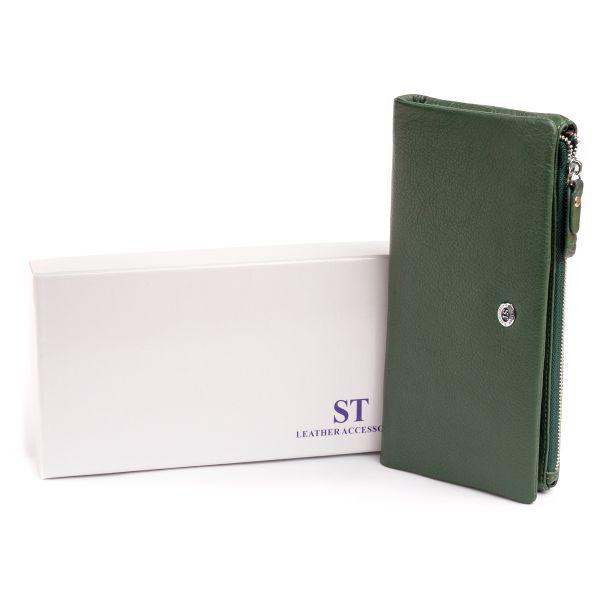 Кошелек-клатч из кожи с карманом для мобильного ST Leather 19308 Зеленый