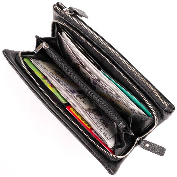 Гаманець-клатч зі шкіри з кишенею для мобільного ST Leather 19310 чорний