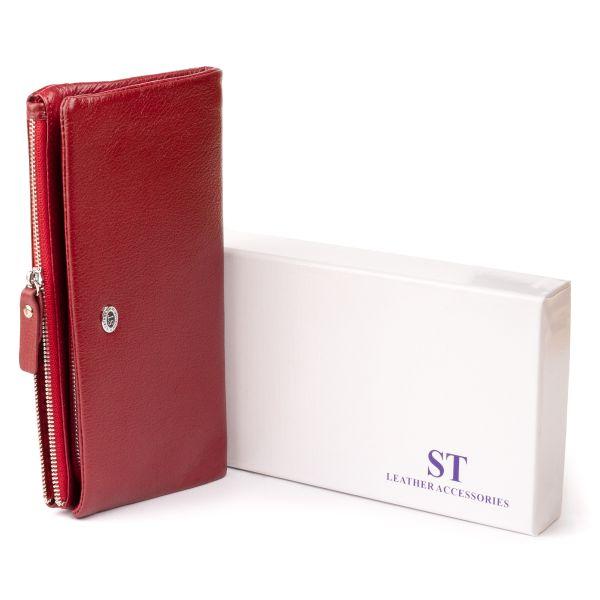 Кошелек-клатч из кожи с карманом для мобильного ST Leather 19311 Бордовый