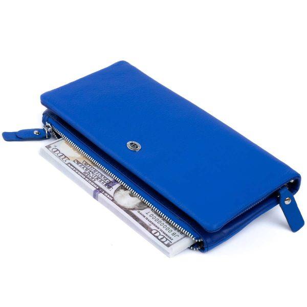 Кошелек-клатч из кожи с карманом для мобильного ST Leather 19312 Синий