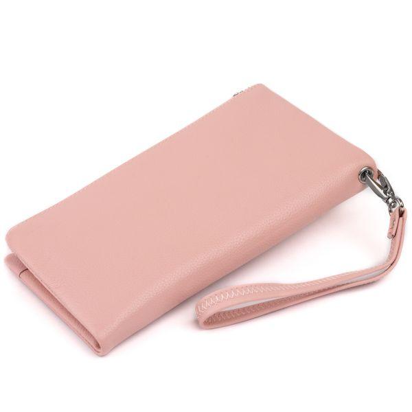 Гаманець-клатч зі шкіри з кишенею для мобільного ST Leather 19313 рожевий