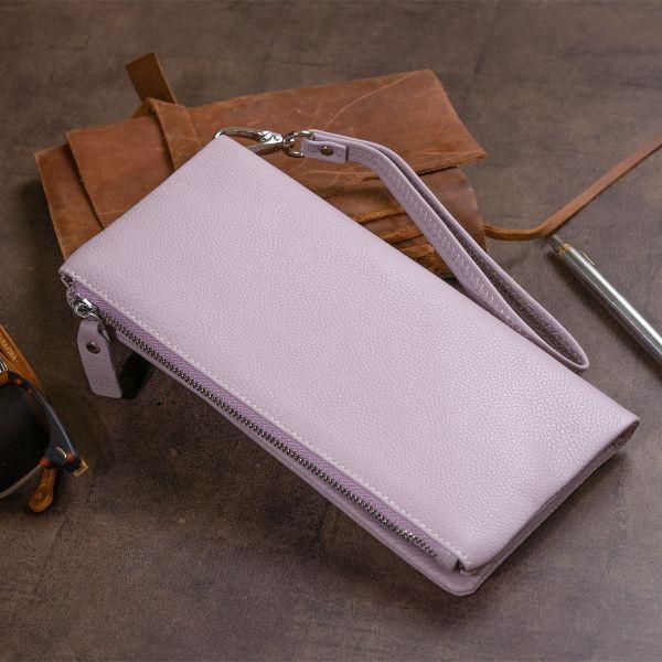 Кошелек-клатч из кожи с карманом для мобильного ST Leather 19314 Лиловый