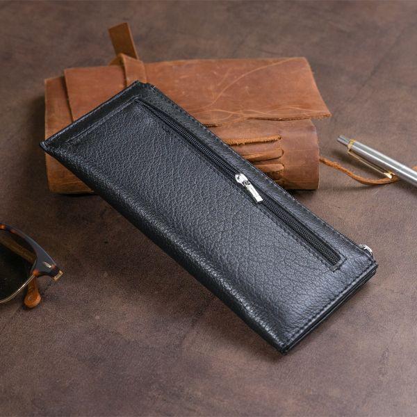 Горизонтальний тонкий гаманець зі шкіри унісекс ST Leather 19324 чорний