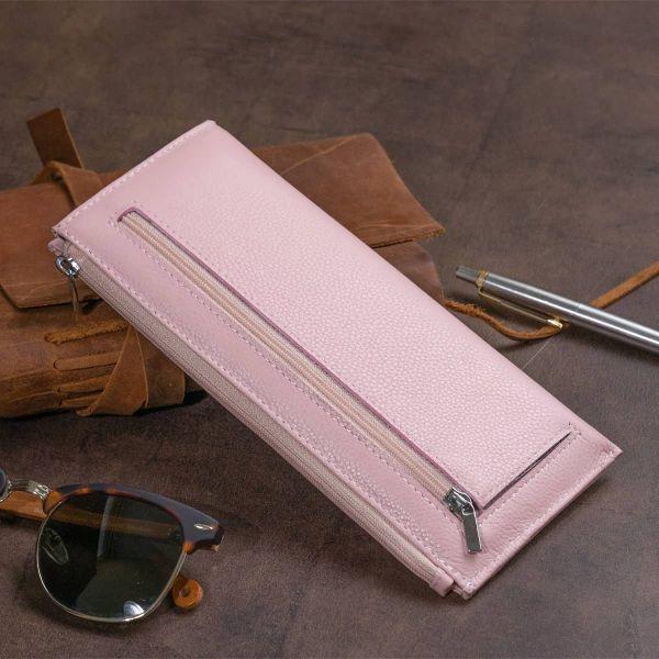 Горизонтальный тонкий кошелек из кожи женский ST Leather 19325 Розовый