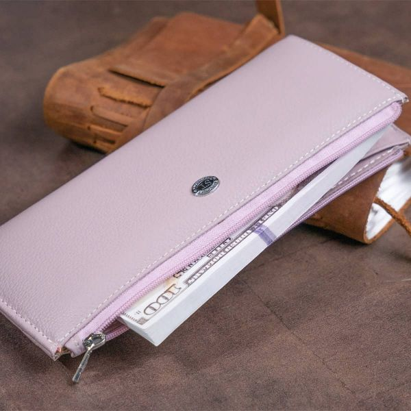 Горизонтальный тонкий кошелек из кожи женский ST Leather 19327 Лиловый