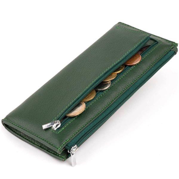 Горизонтальный тонкий кошелек из кожи унисекс ST Leather 19328 зеленый