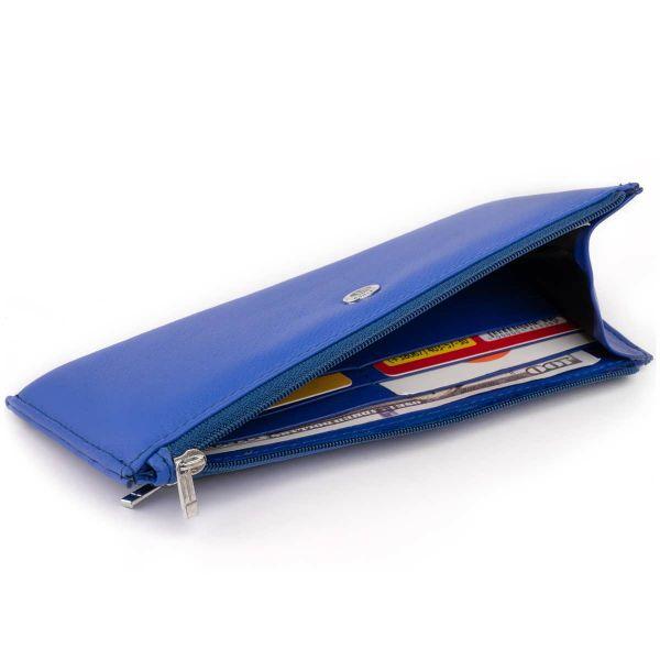 Горизонтальний тонкий гаманець зі шкіри унісекс ST Leather 19329 синій